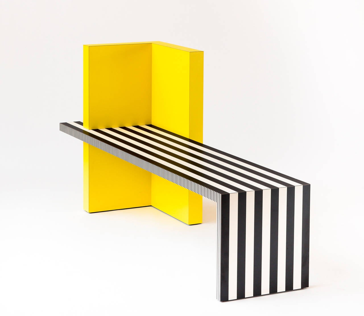 """Neo Laminati bench no. 84.  Shown in yellow with black and white stripes. Measures: 70"""" W x 20"""" D x 34"""" H, 17"""" SH. Made to order. Lead time 6-8 weeks. Custom sizes and colors available upon request.  Custom laminate and"""