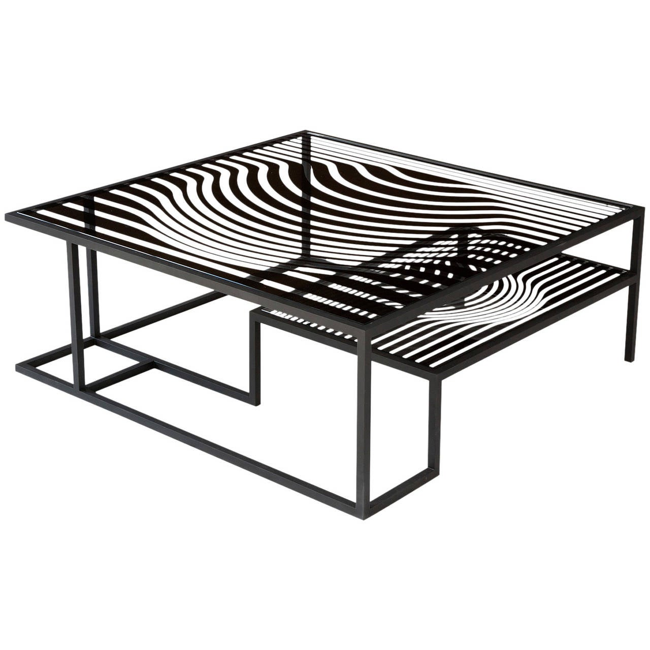 """""""Op Art"""" Glass and Metal Cocktail Table in the Manner of Victor Vasarely For Sale"""