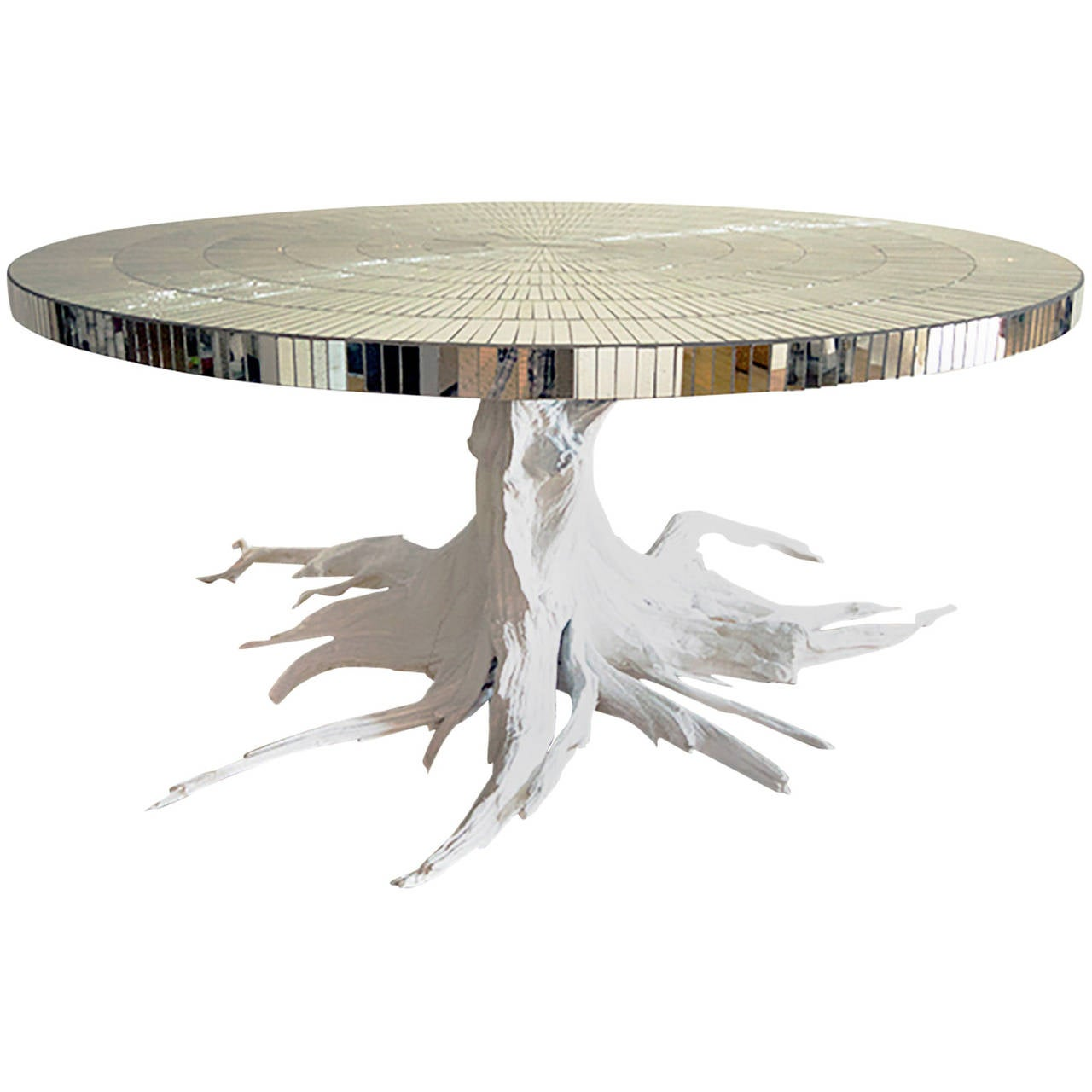 Custom Driftwood Root Table with Mosaic Mirror Top For Sale