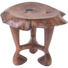 Organic Hand-Carved Walnut Stool