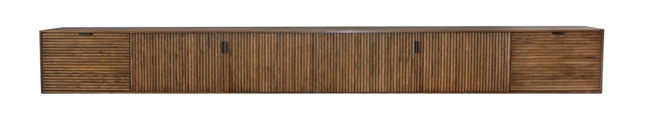 American Wall-Mounted Oak Tambour Console For Sale