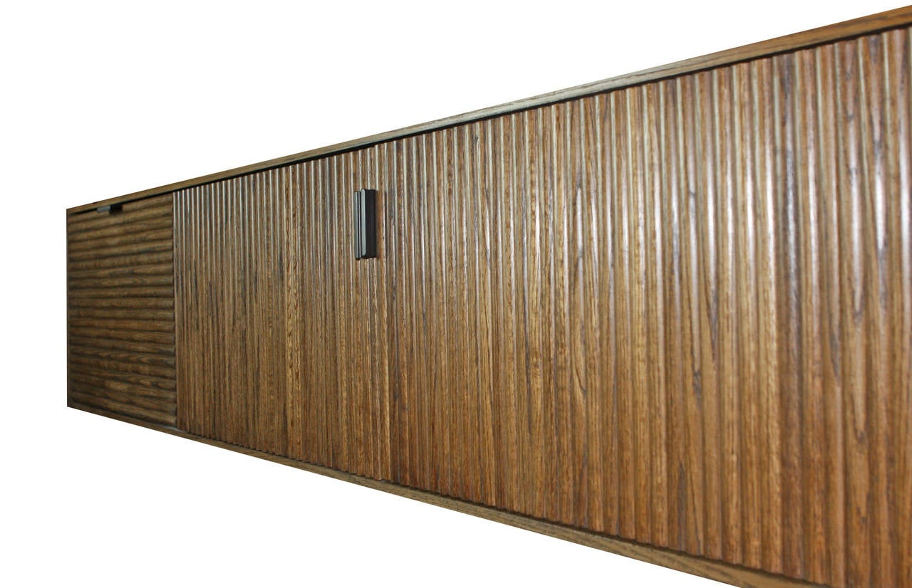 Wall-Mounted Oak Tambour Console For Sale 4