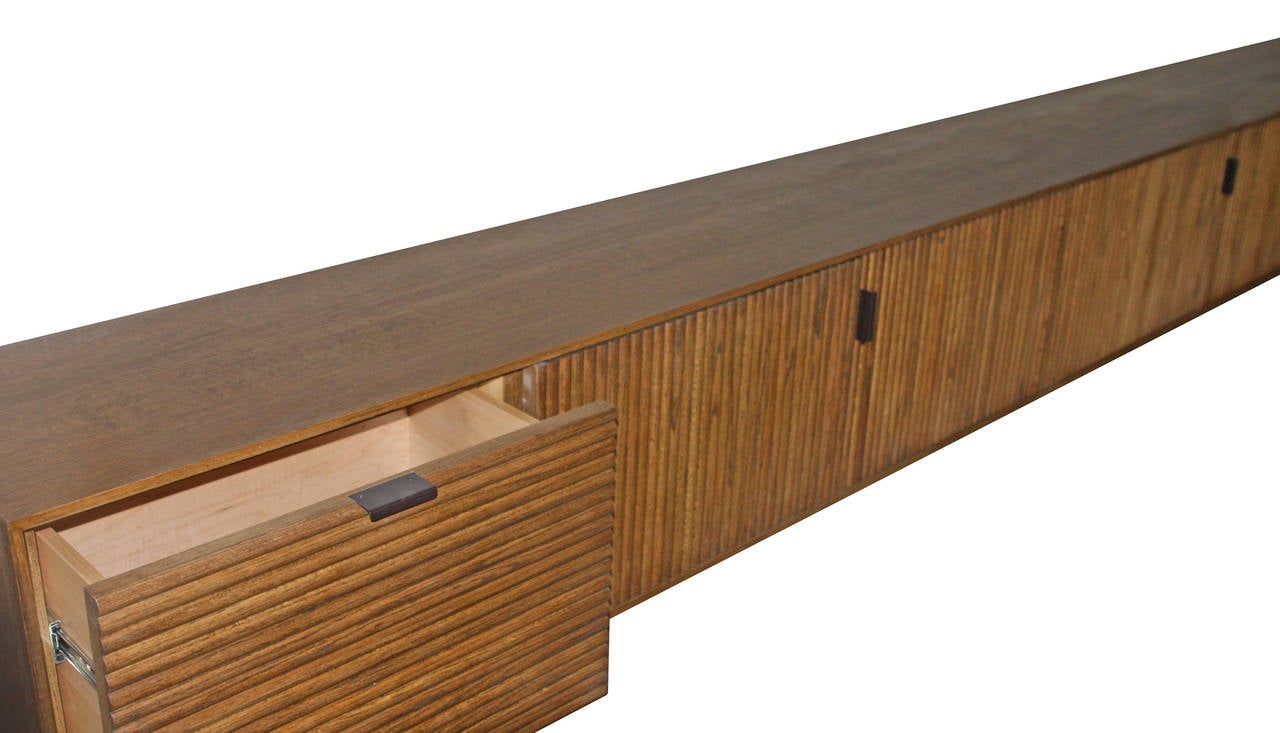 Maple Wall-Mounted Oak Tambour Console For Sale