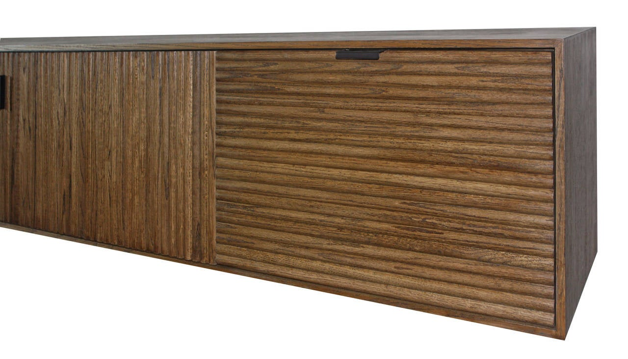 Contemporary Wall-Mounted Oak Tambour Console For Sale