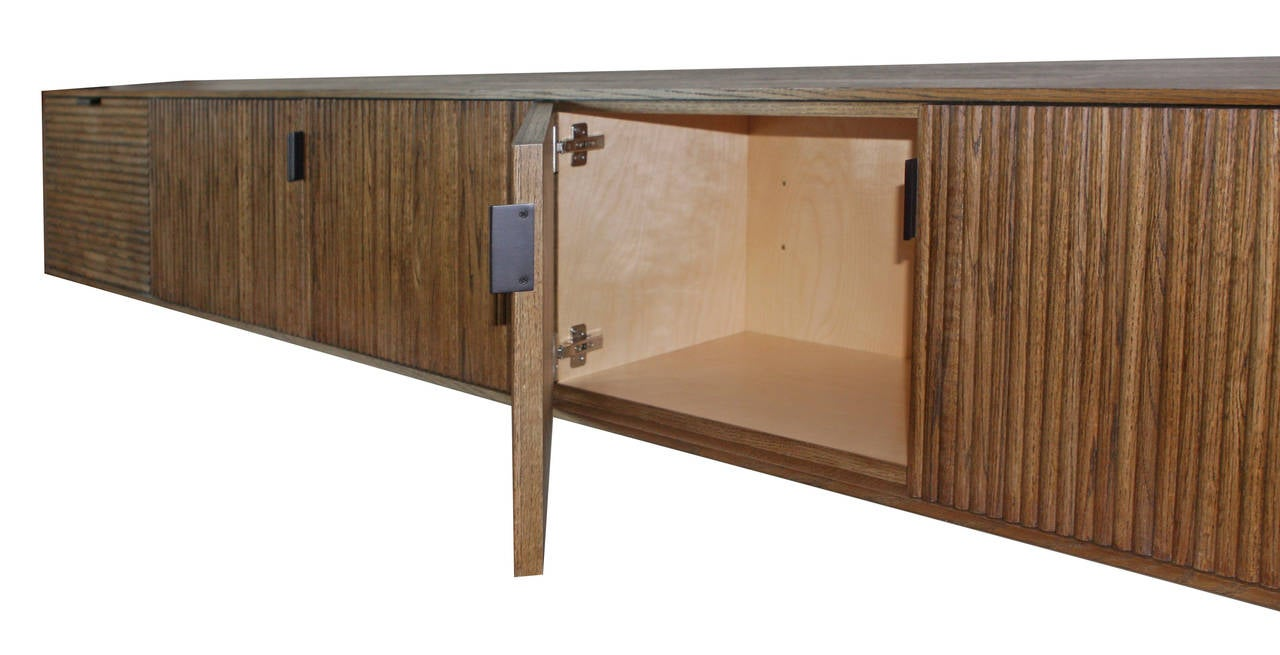 Wall-Mounted Oak Tambour Console In Excellent Condition For Sale In New York, NY