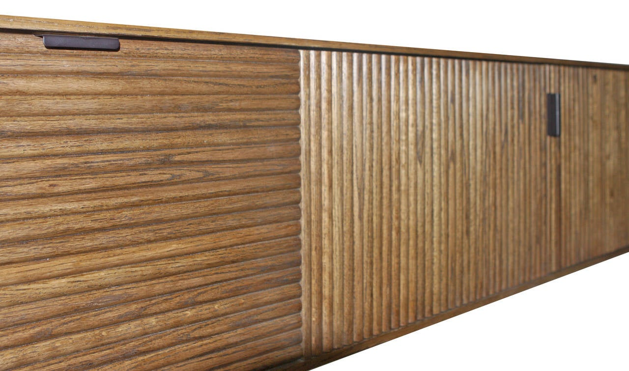 Wall-Mounted Oak Tambour Console For Sale 1