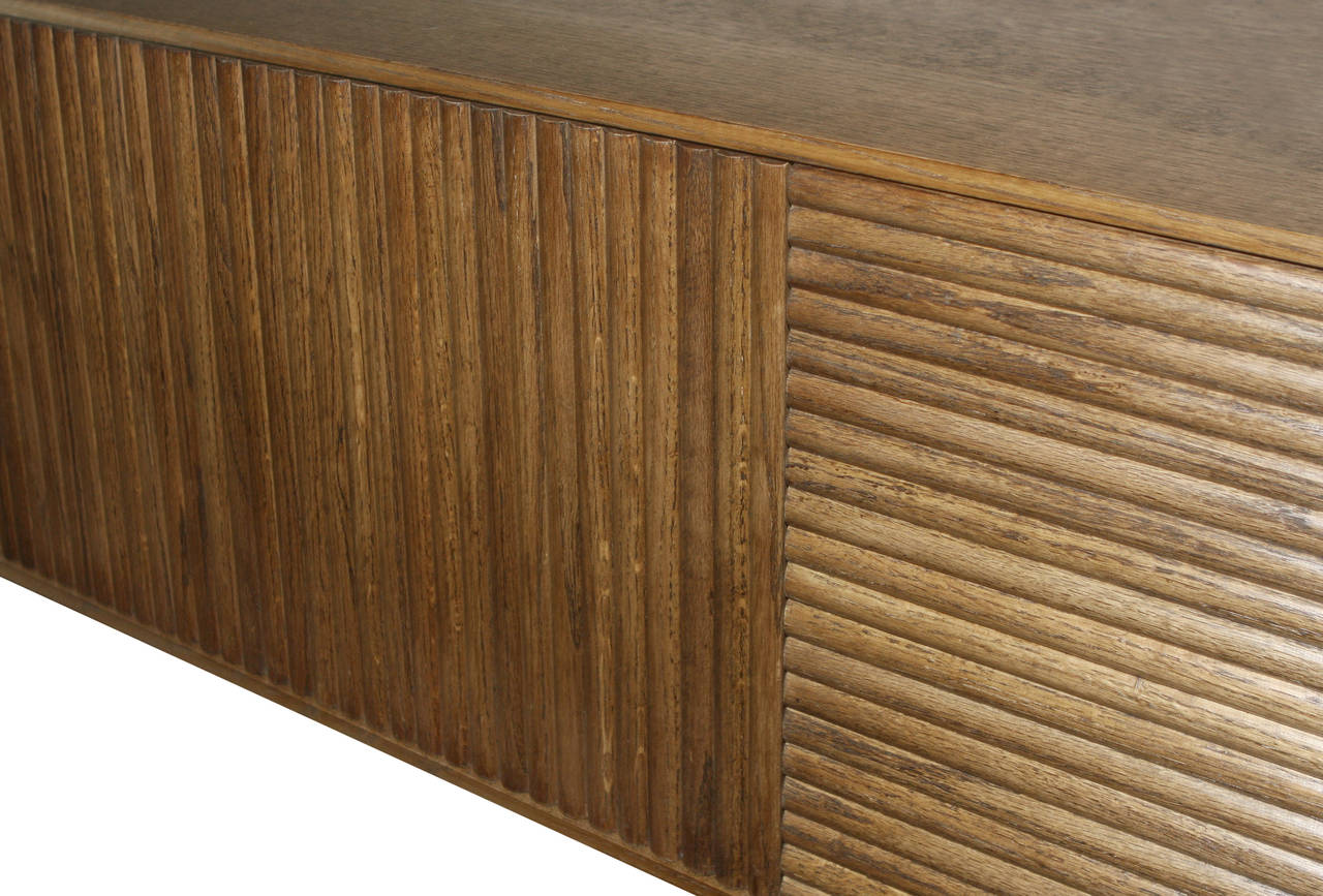 Wall-Mounted Oak Tambour Console For Sale 2
