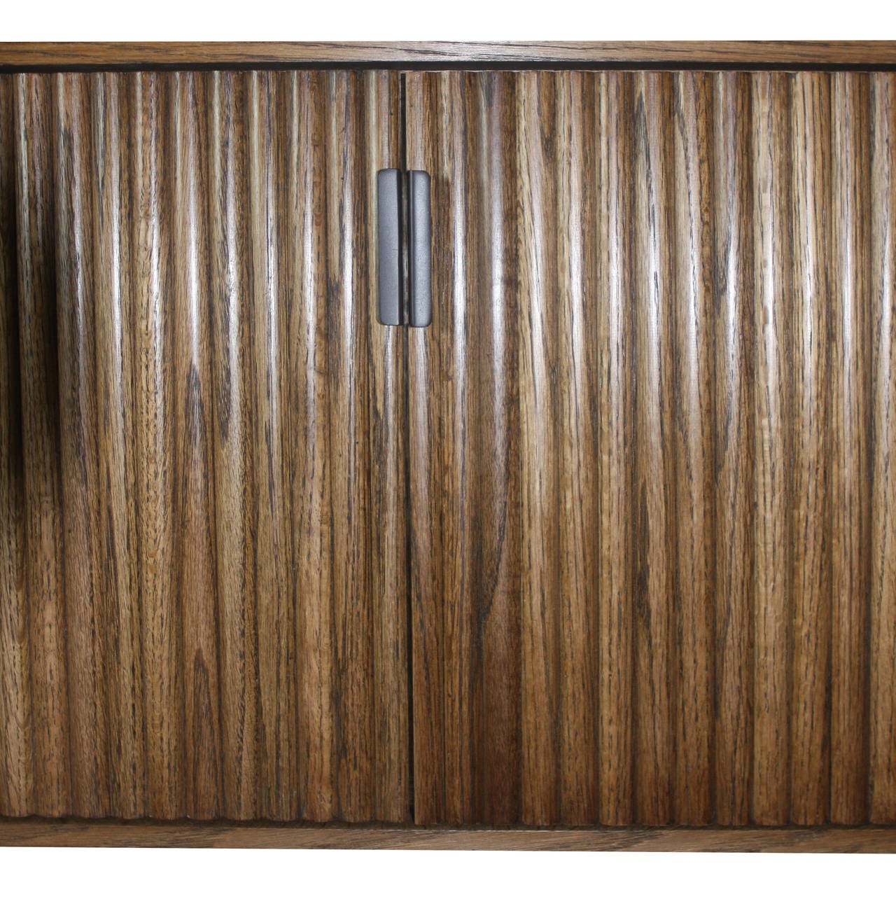 Wall-Mounted Oak Tambour Console For Sale 3