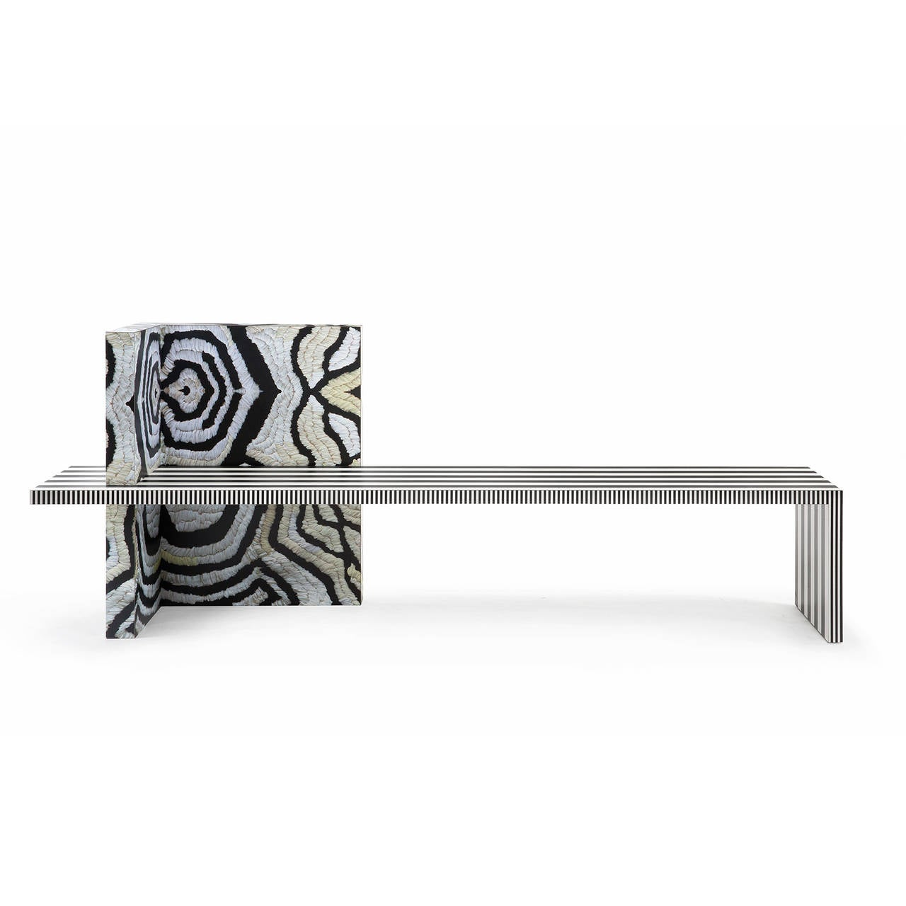Unique sculptural bench inspired by the Memphis Group design movement with original laminate prints by Kelly Behun Studio.