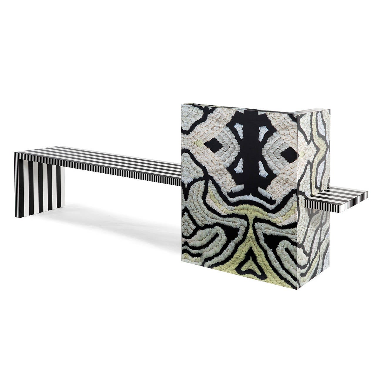Contemporary Memphis Inspired Bench Neo Laminati Collection For Sale
