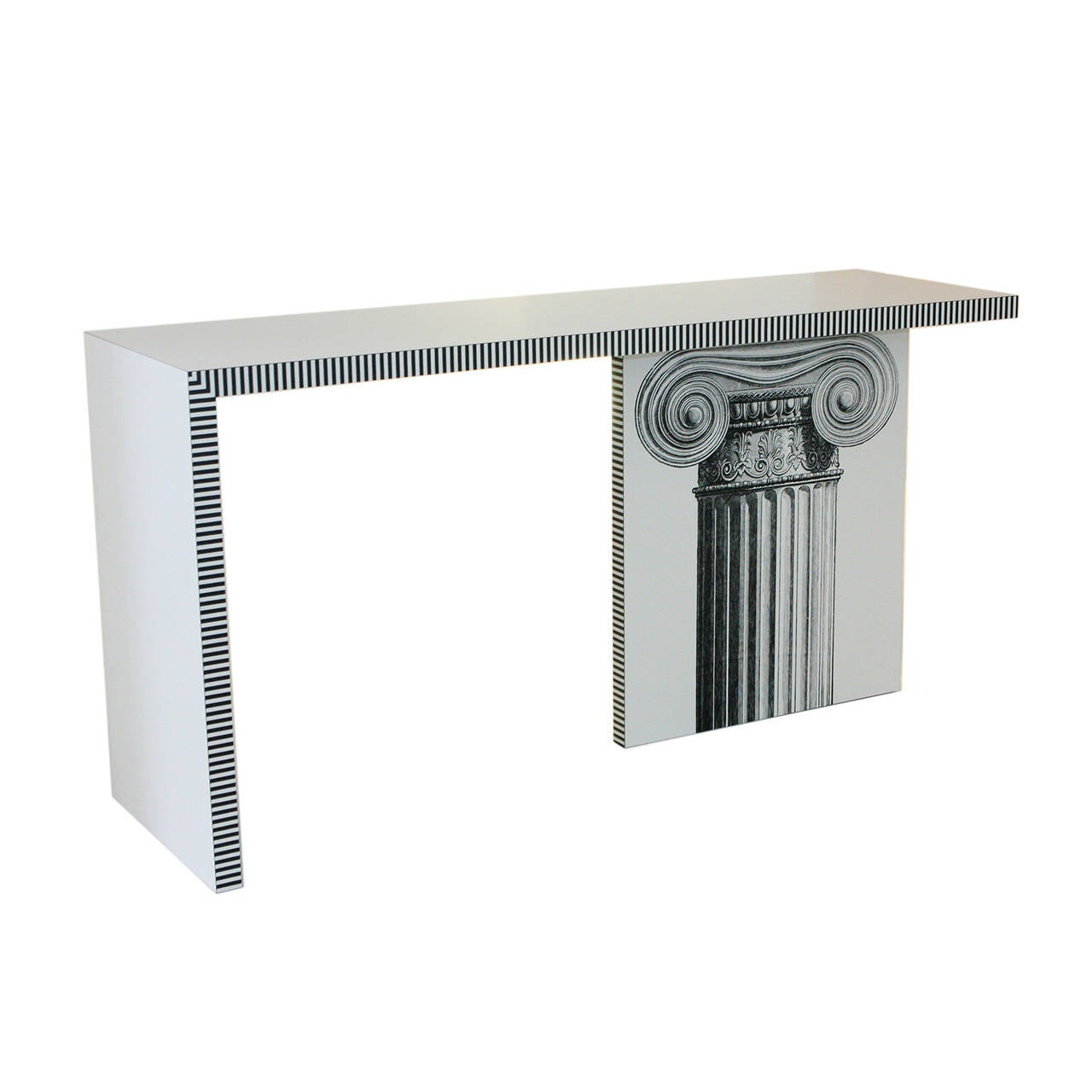 Unique contemporary console table with custom printed ionic column on leg. May also be used as a desk.