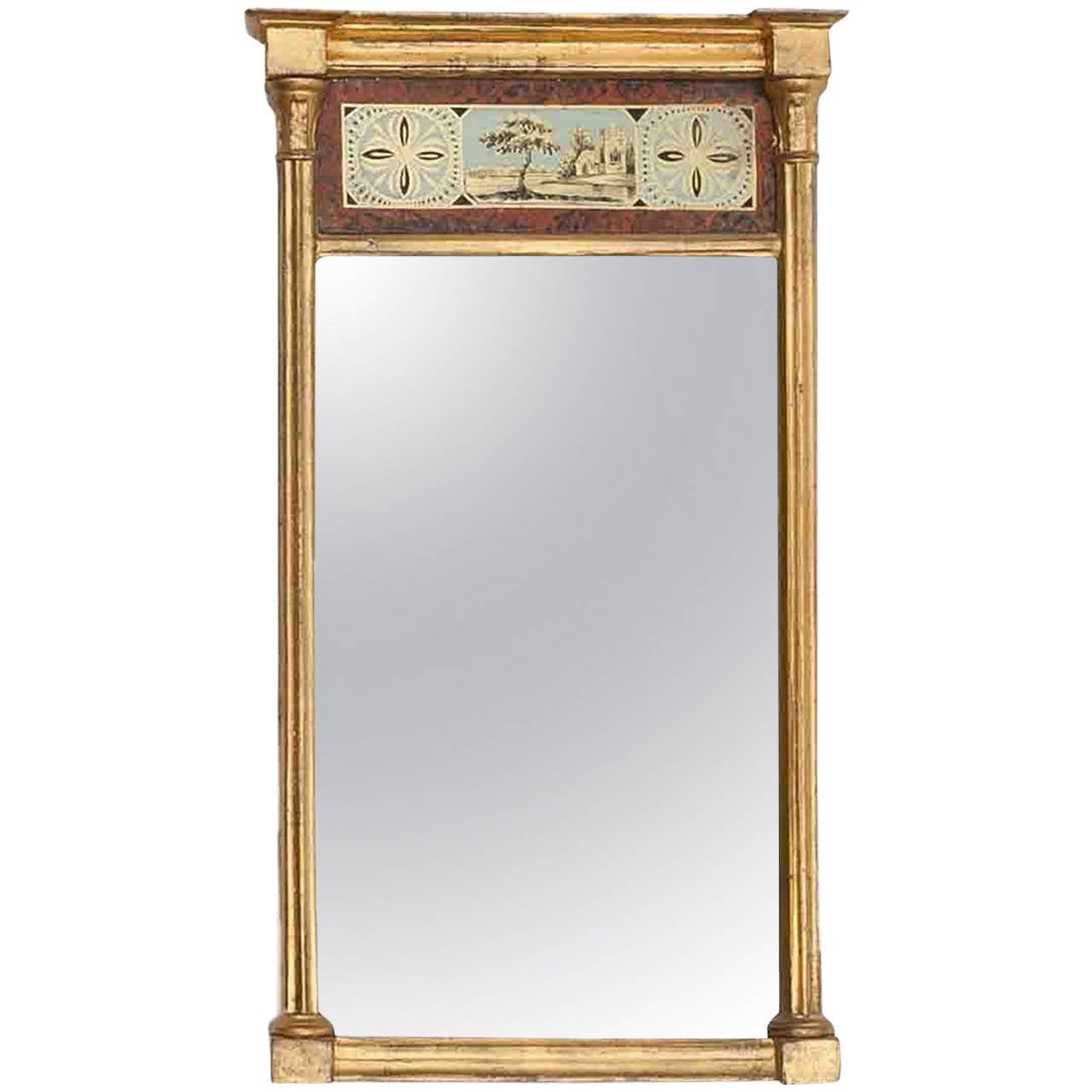 Early 19th Century American Verre Eglomise Wall Mirror