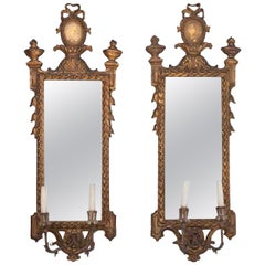 19th Century Pair of Giltwood Girandoles
