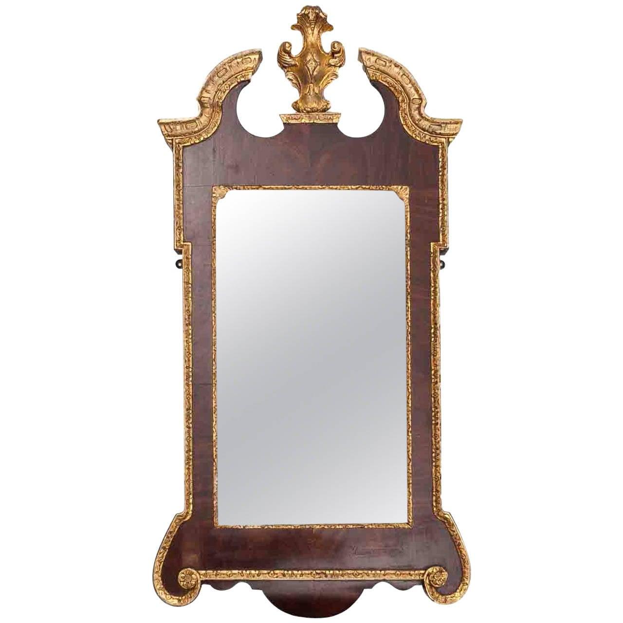 18th Century George II Walnut and Parcel-gilt Mirror
