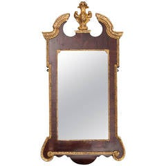 18th Century George II Walnut and Parcel-gilt Mirror