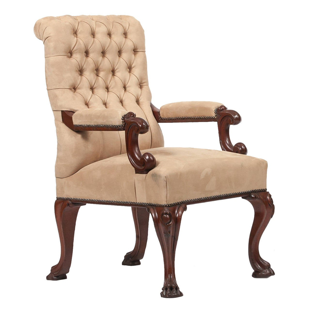 19th Century Suede Open Armchair For Sale at 1stdibs