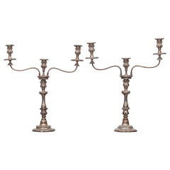 19th Century George III Pair of Sheffield Plate Candelabra