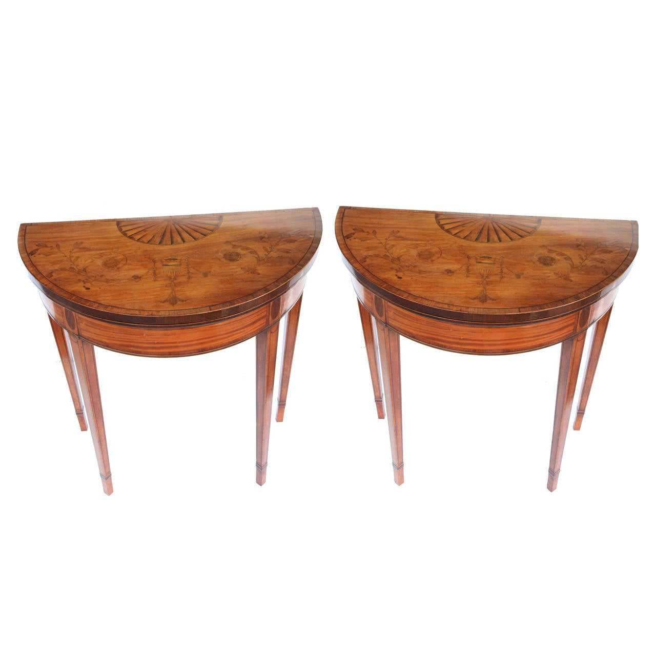 Early 19th Century George III Pair of Satinwood Fold-Over Demilune Card Tables