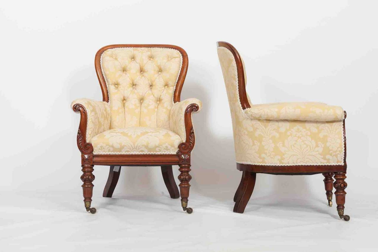 19th C Pair Of Round Back Armchair At 1stdibs