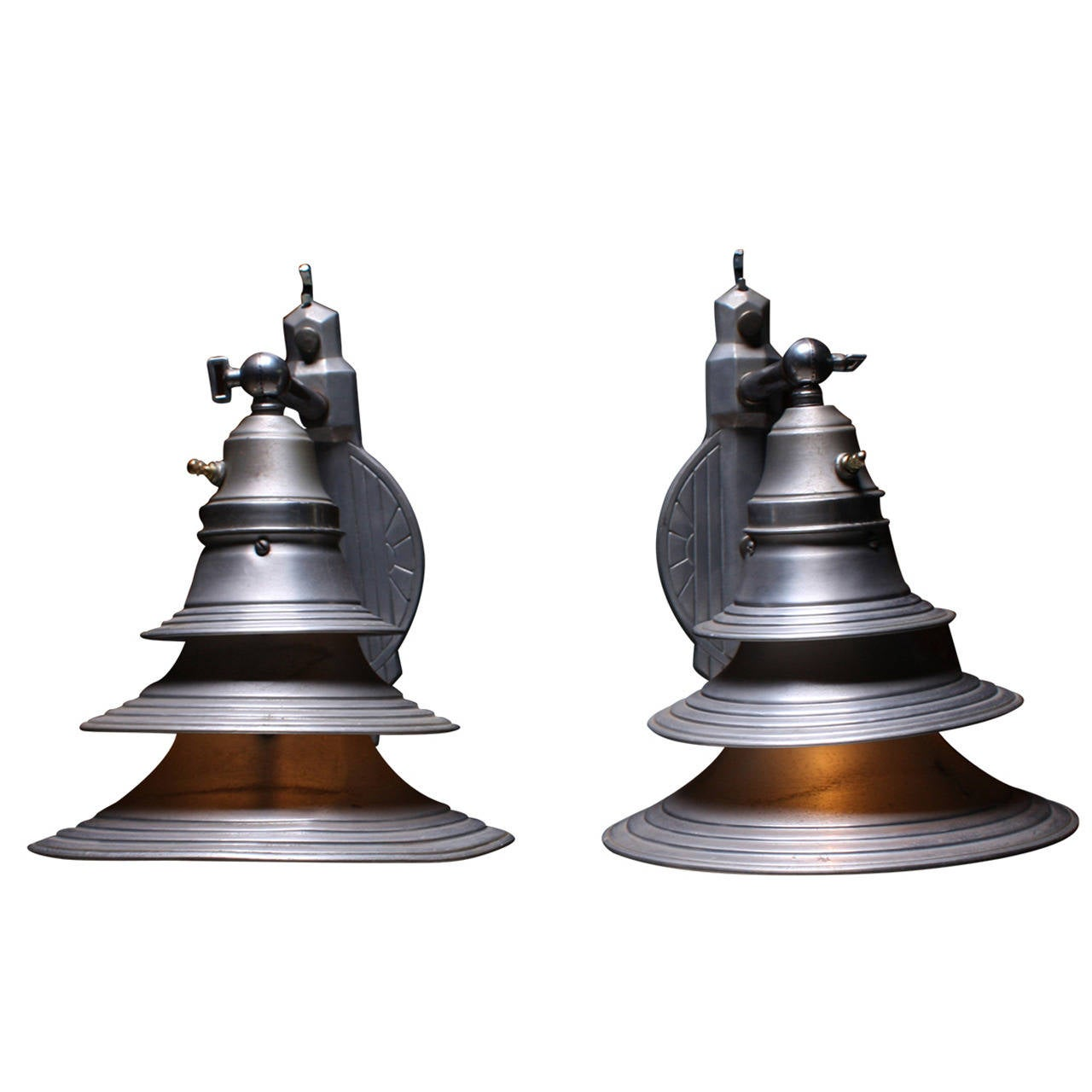 Industrial Art Deco Metal Sconces At 1stdibs