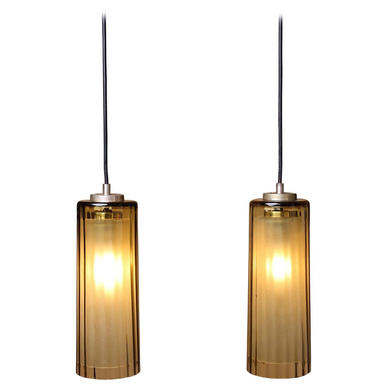 Amber Glass Cylinder Pendants At 1stdibs