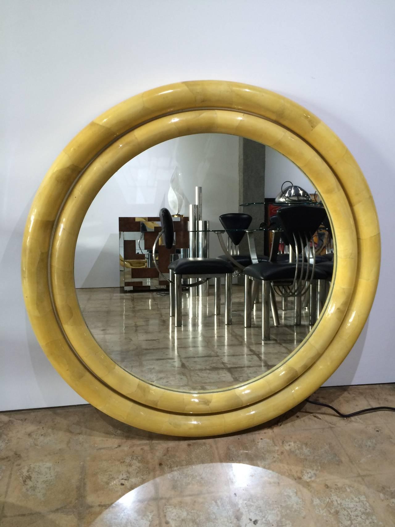 High gloss lacquered goatskin mirror designed by Karl Springer.