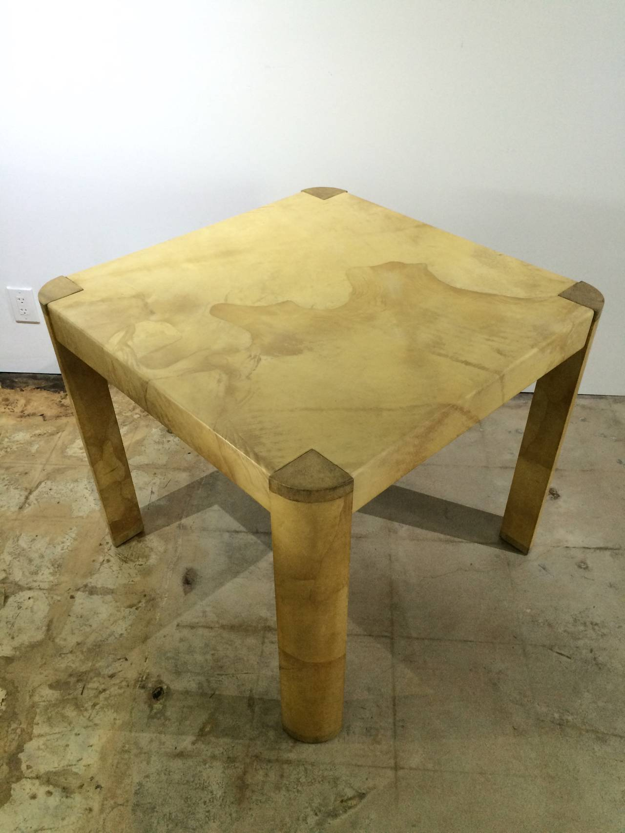 Mid-Century Modern Karl Springer Angular Leg Game Table in Matte Lacquered Goatskin For Sale