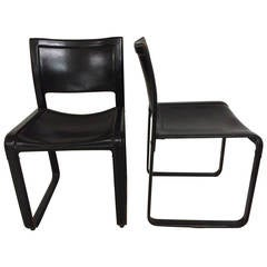 Pair of Matteo Grassi Distressed Leather Chairs