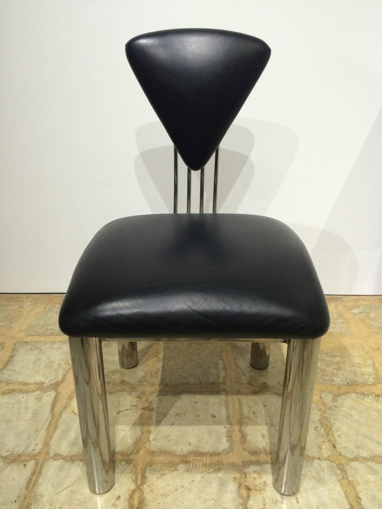 Set of ten american post modern leather and steel dining for Post modern chair