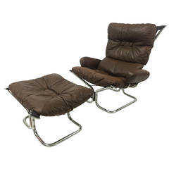 Ingmar Relling Chrome and Leather Lounge Chair and Ottoman for Westnofa