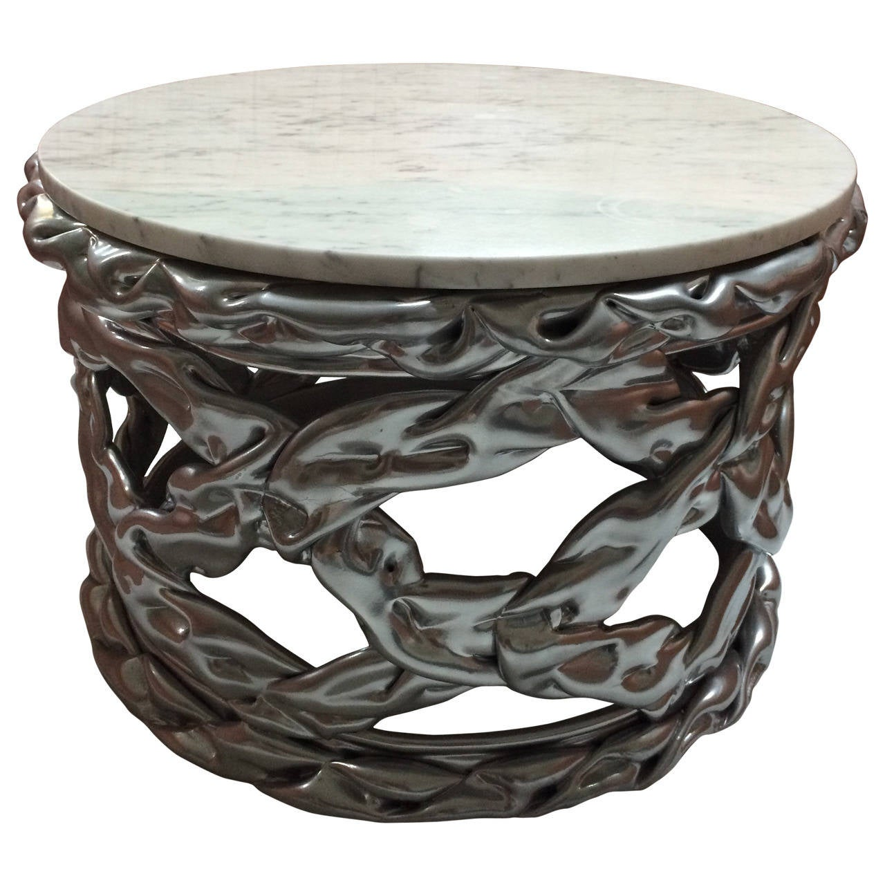 Twisted Silvered Resin And Carrara Marble Table For Sale