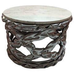 Twisted Silvered Resin and Carrara Marble Table
