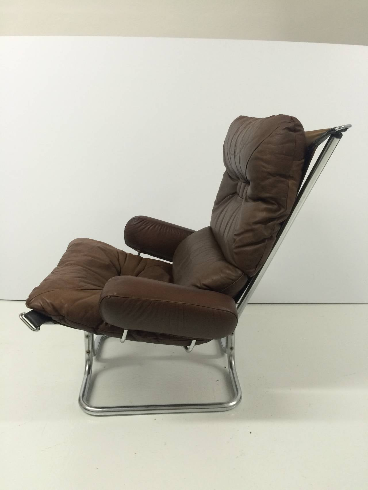 Ingmar Relling Chrome And Leather Lounge Chair And Ottoman