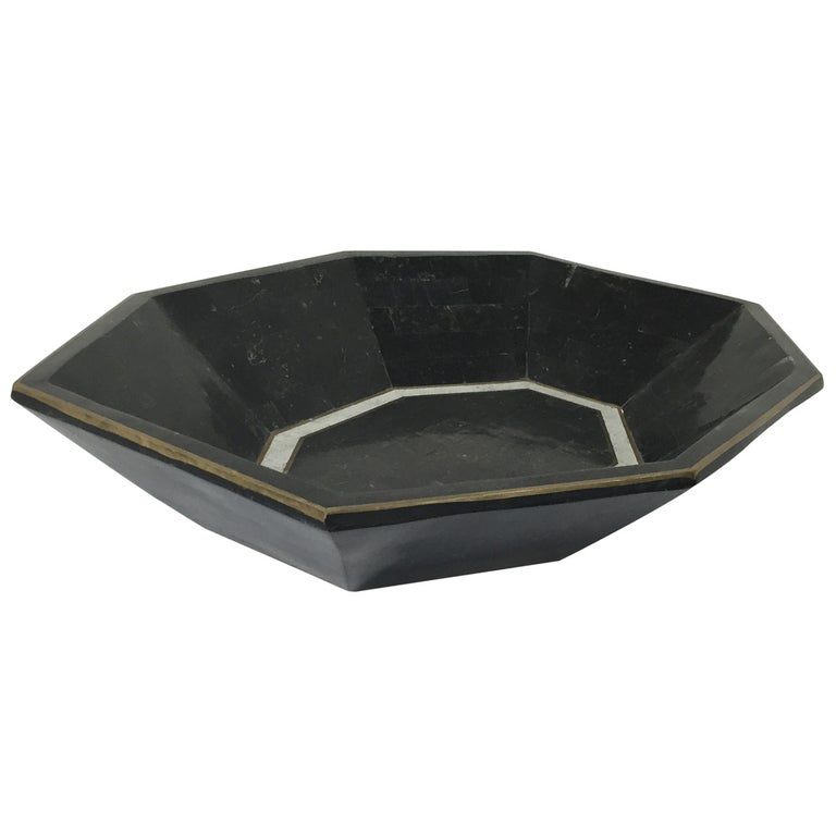 Maitland-Smith Tessellated Marble Bowl For Sale