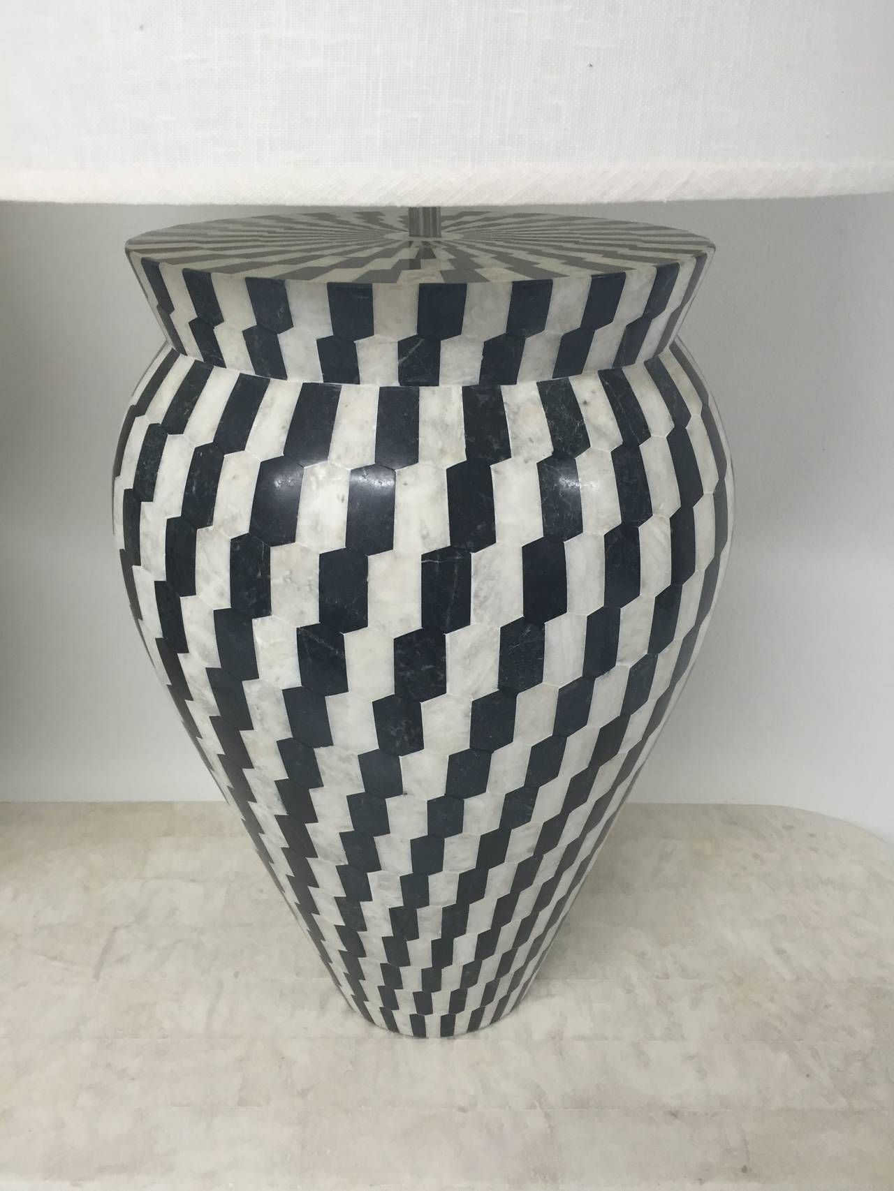 Philippine Pair of Kelly Wearstler Tessellated Marble Lamps For Sale