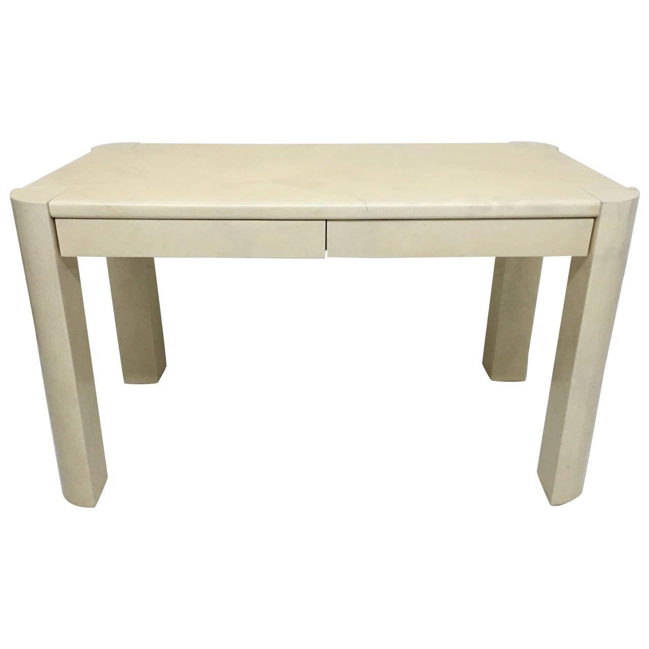 Karl Springer Angular Leg Desk in Ivory Lacquered Goatskin For Sale