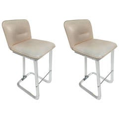 Pair of Leon Frost Swivel Bar Stools for Lion In Frost