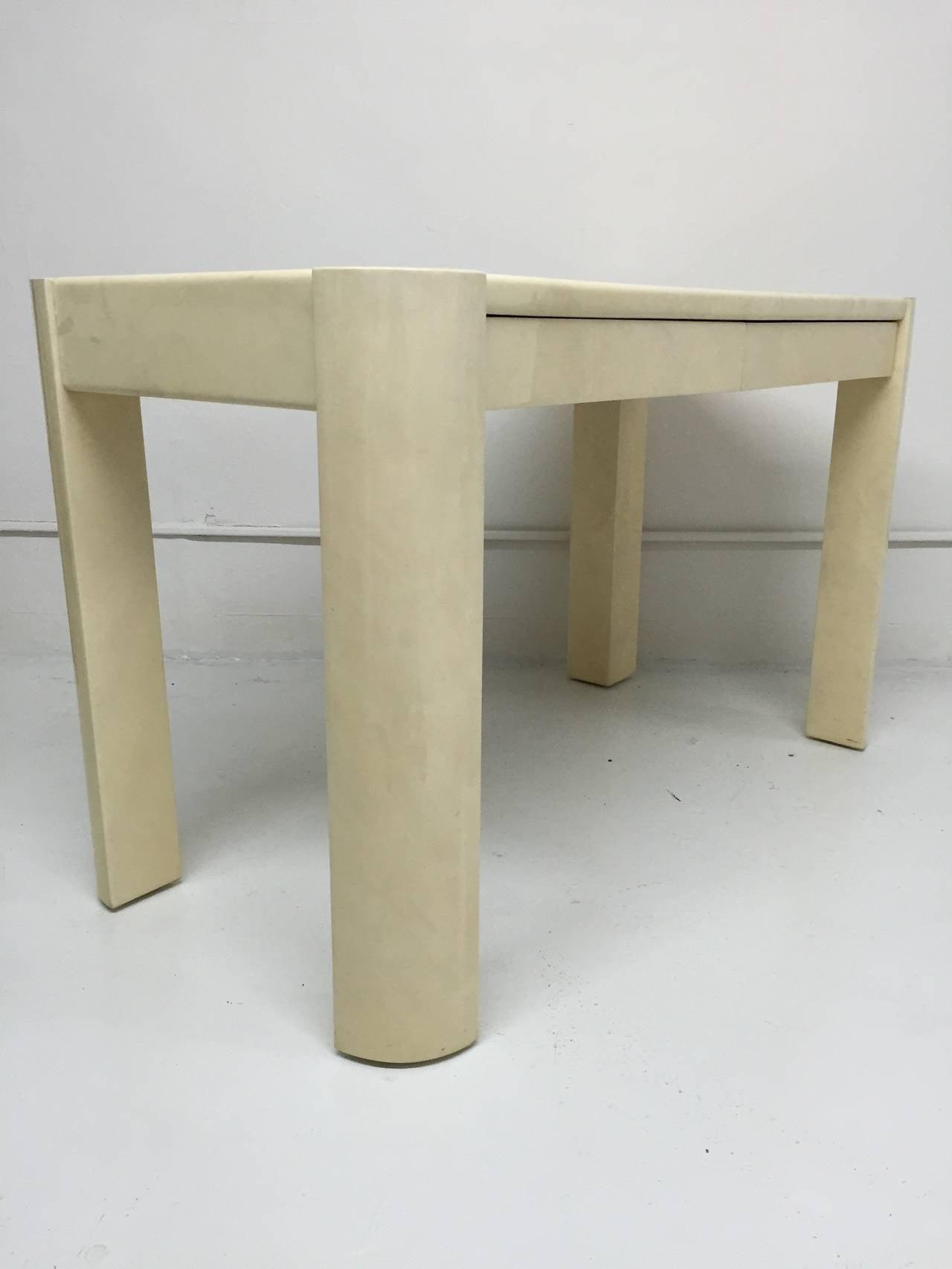 20th Century Karl Springer Angular Leg Desk in Ivory Lacquered Goatskin For Sale
