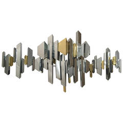 Curtis Jere Brass and Chrome Wall Sculpture