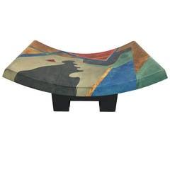 Geometric Pattern Goatskin Coffee Table or Bench