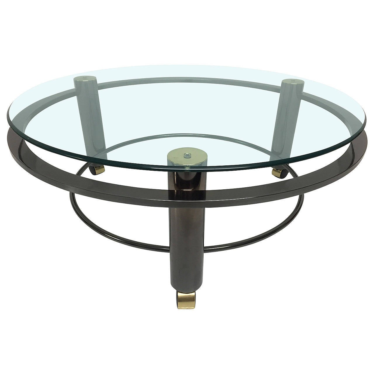 DIA, Design Institute of America Circular Gunmetal and Brass Coffee Table