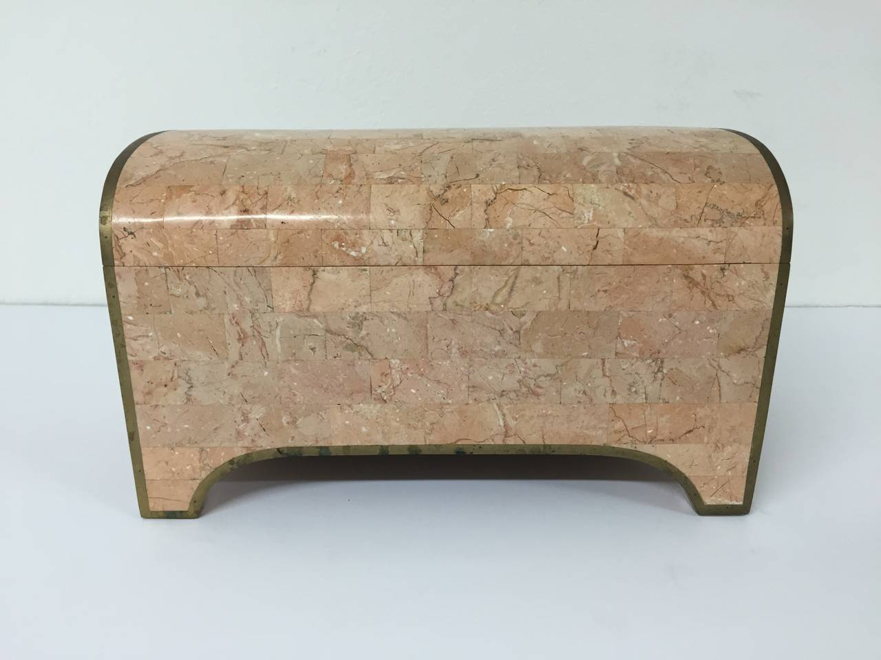 Pink tessellated marble and patinated brass jewelry box by Maitland-Smith.