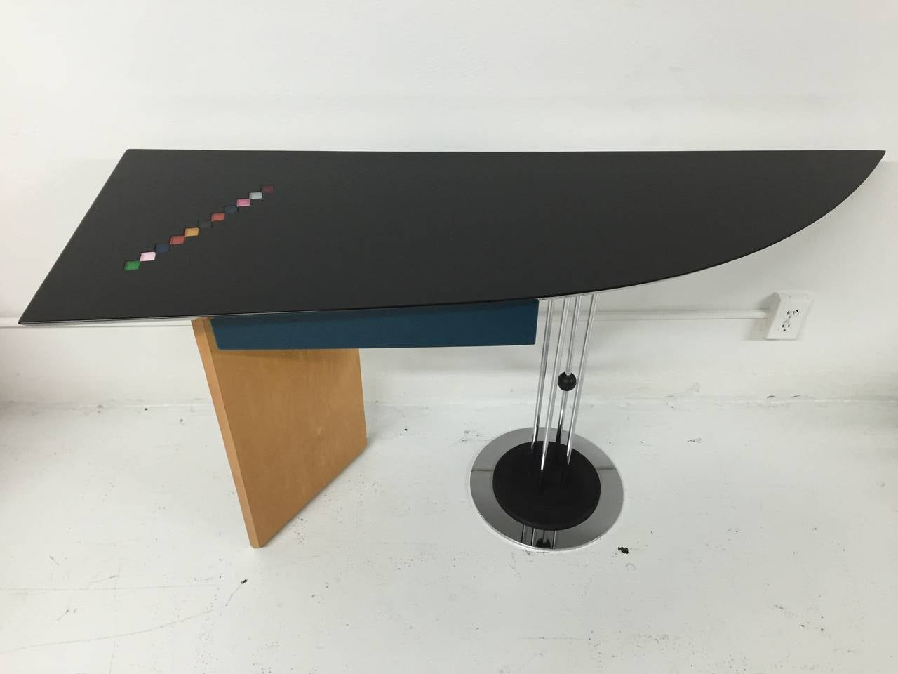 High gloss black lacquer top with inset multicolor stone tiles and a chrome and wood base writing desk by Maurizio Salvato for Saporiti, Italia.