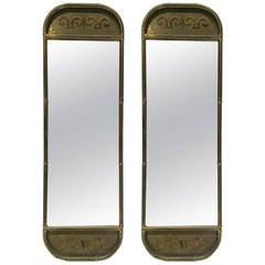 Pair of Mastercraft Patinated Brass Mirrors