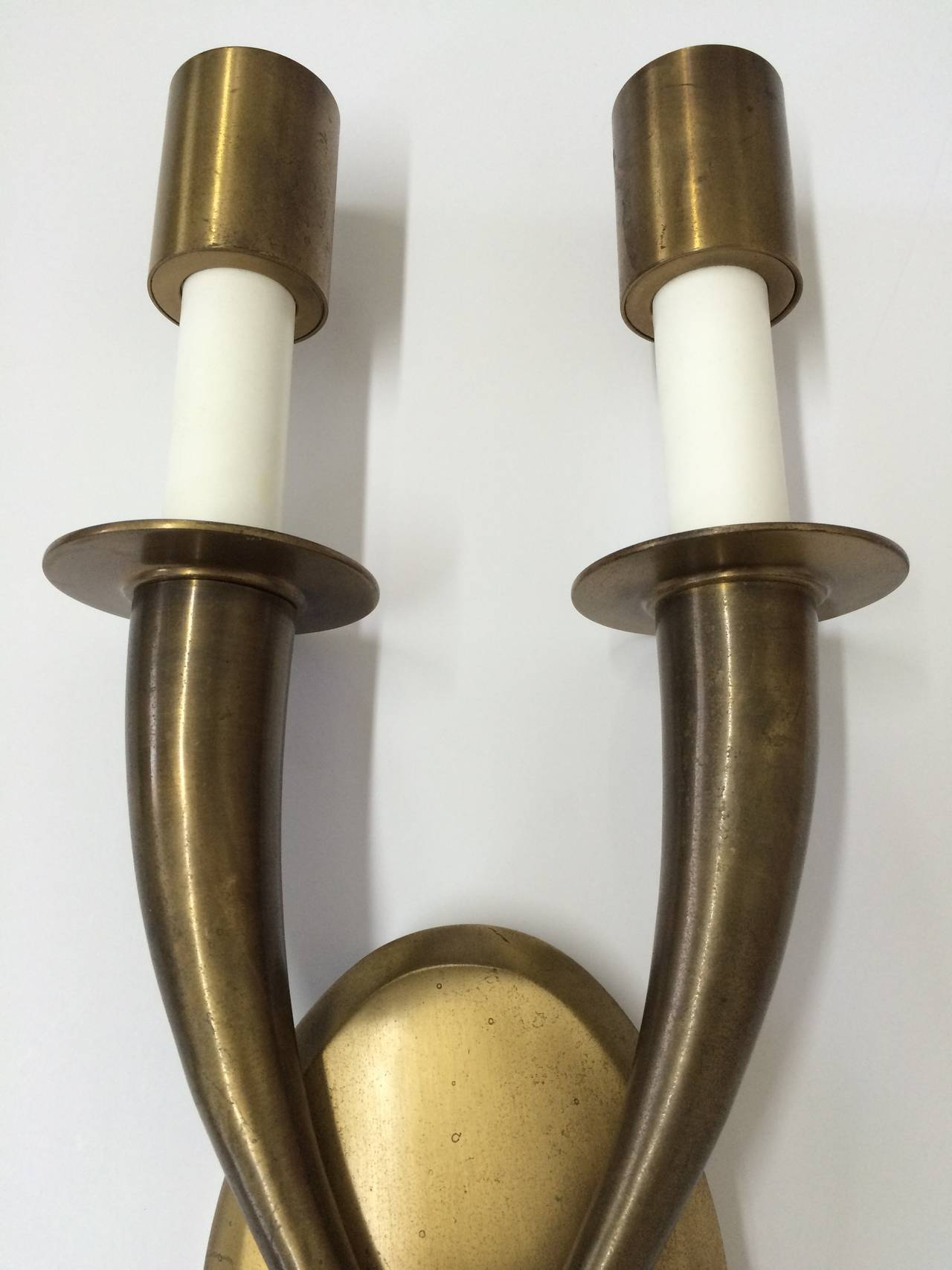 French Pair of Brass Art Deco Wall Sconces For Sale