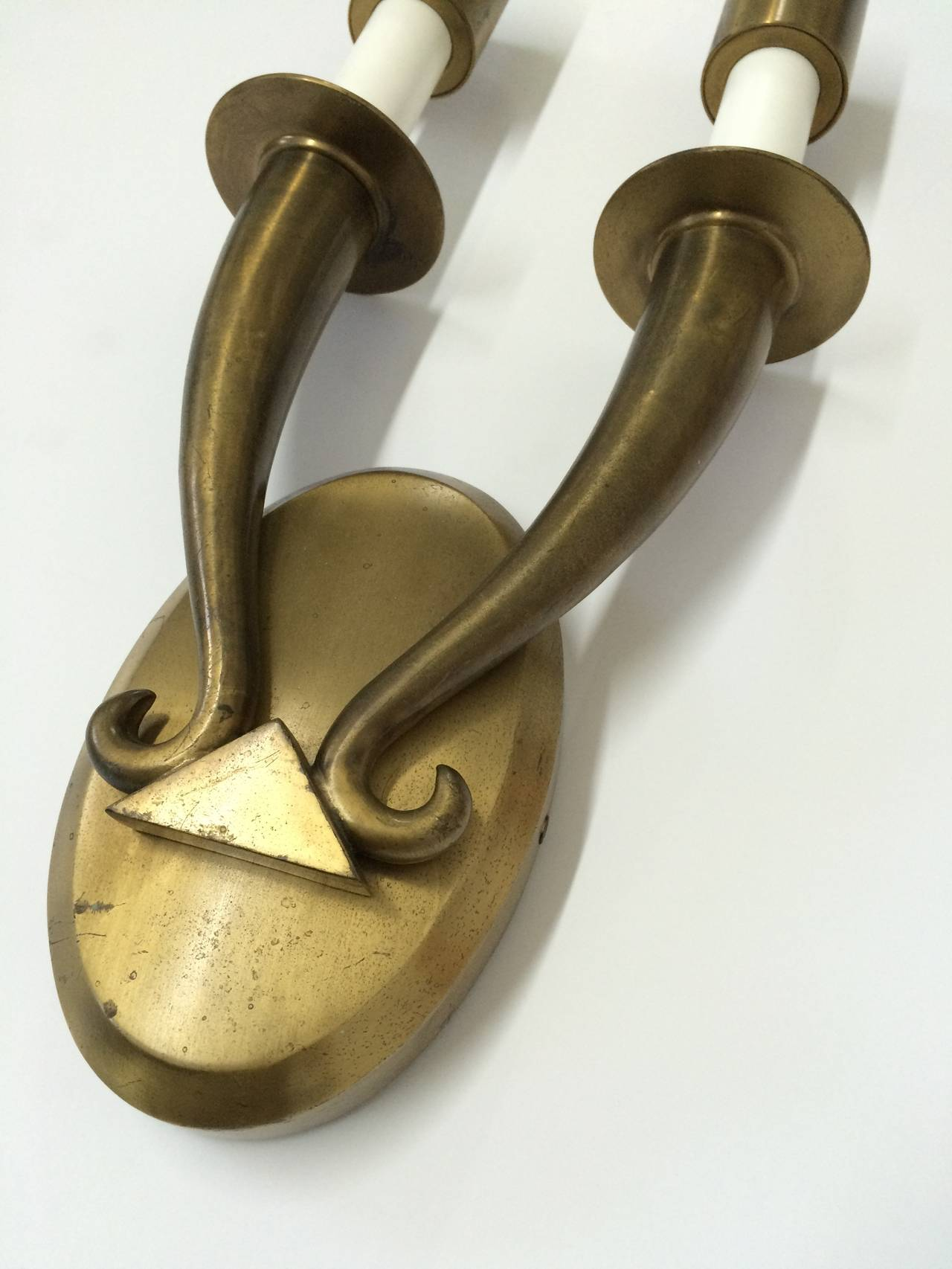 Pair of Brass Art Deco Wall Sconces In Excellent Condition For Sale In Miami, FL