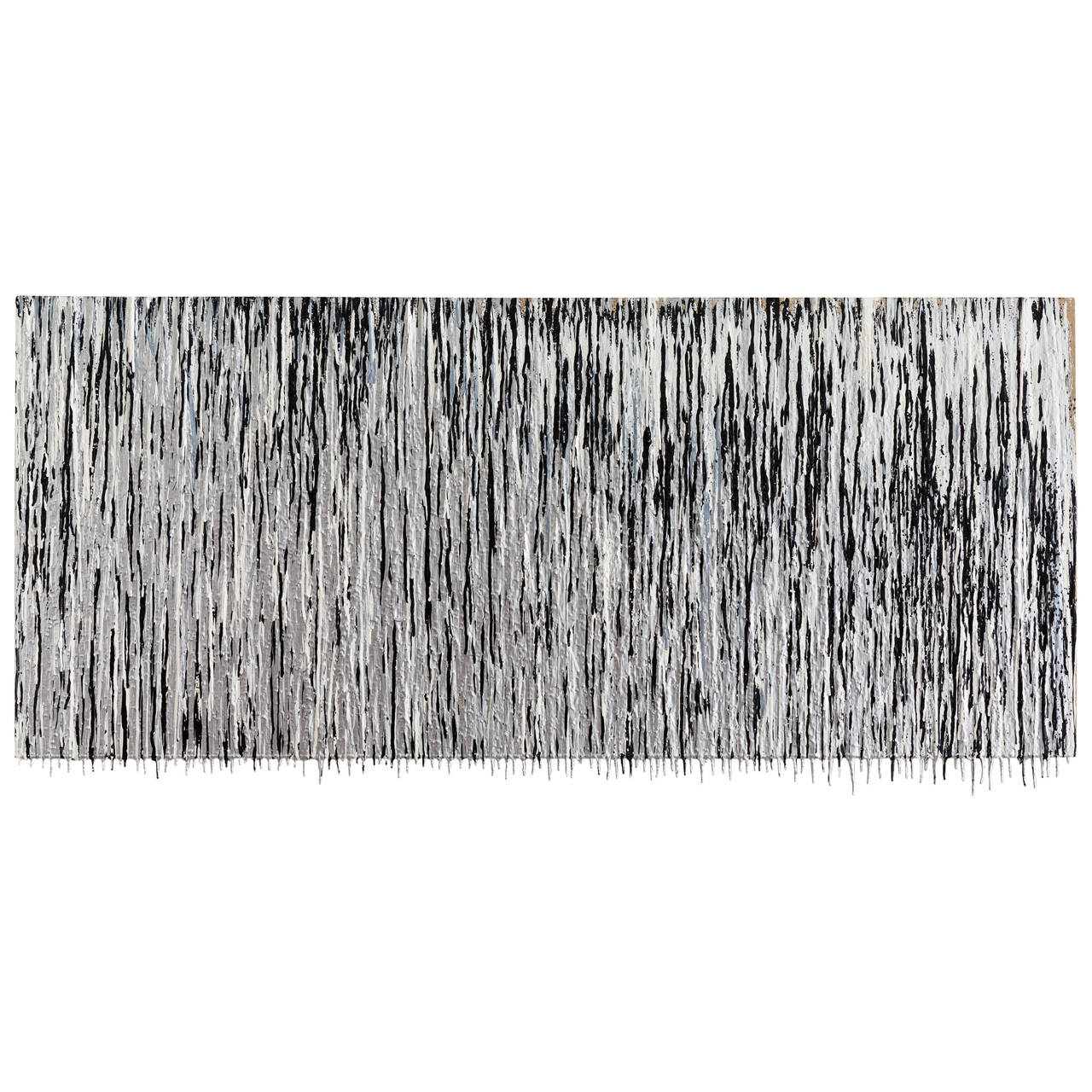 Matthew Satz Silver, Black and White Oil on Linen By-Product Painting For Sale