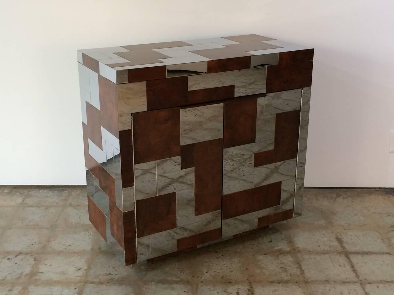 Rare Paul Evans Studio Burl Wood And Chrome Flip Top Cityscape Bar Cabinet On Castors