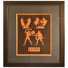 Framed Hand-Colored Engraving of Antique Greek Vases