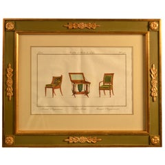 19th Century Framed Handcolored Engraving of Furnishings